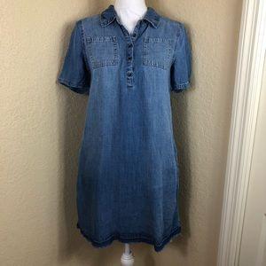 🍀Euc Universal Threads raw hem chambray dress